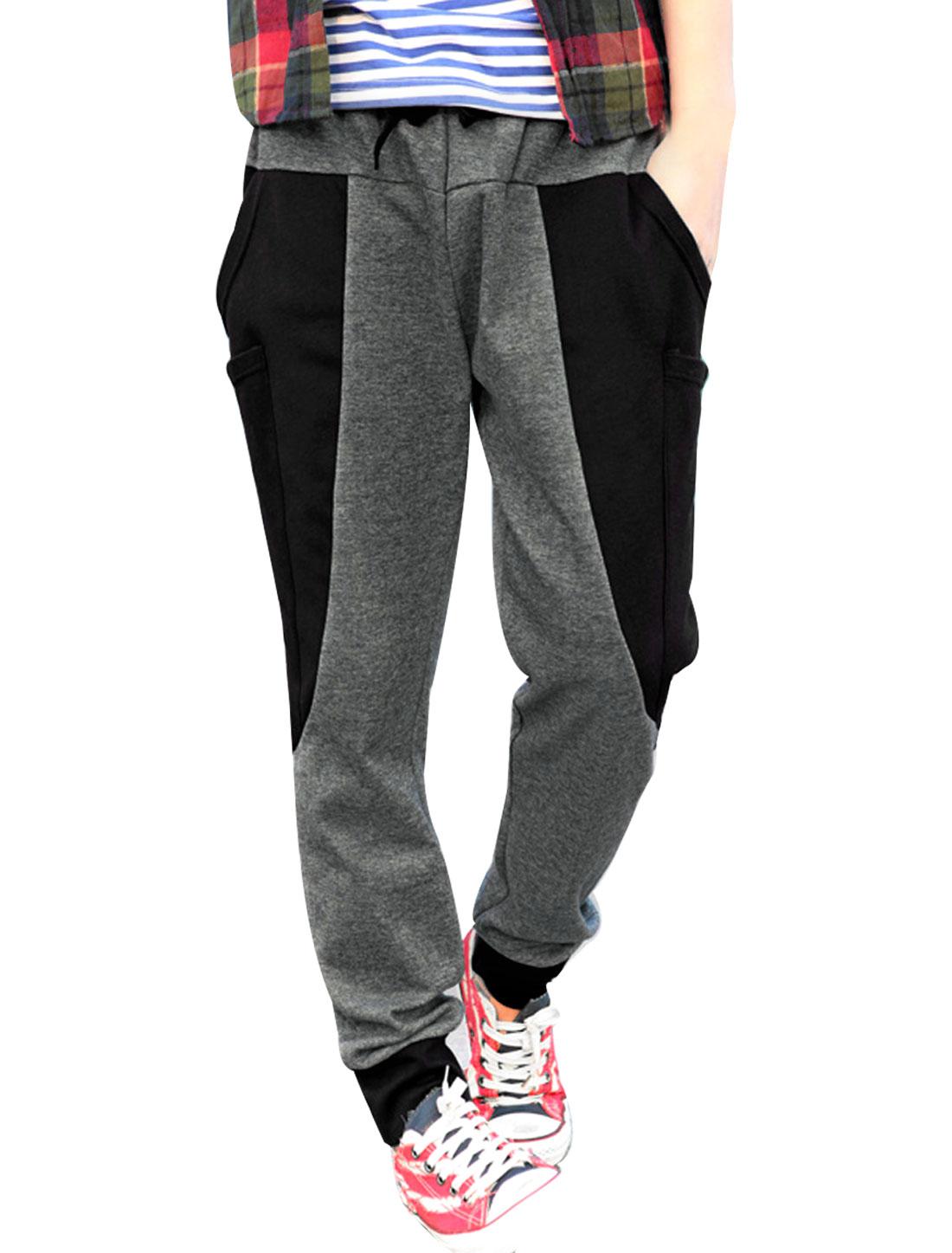 Men's Color Block Panel Big Pockets Fashion Harem Pants