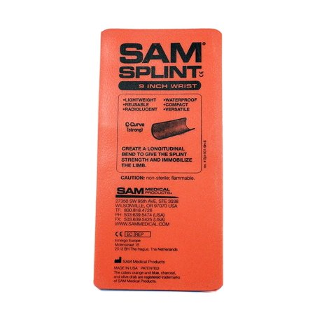 Flat Fold Splint (Orange, 9-Inch), A handy quick wrist splint or thumb spica that takes up relatively no space or qeight in your pack By SAM Medical Products