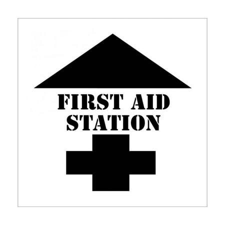 NMC Signs Pms206, First Aid Station With Arrow Plant Marking Stencil, 24 X 24, Polyethlyene .060 (Stencils)