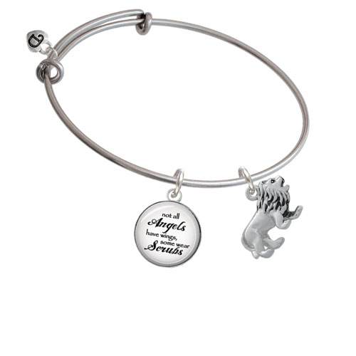 3-D Lion Angels Wear Scrubs Bangle Bracelet