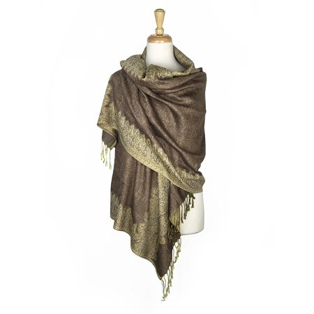 Layer Scarf - Paskmlna® Border Pattern Double Layered Reversible Woven Pashmina Shawl Scarf Wrap Stole #12