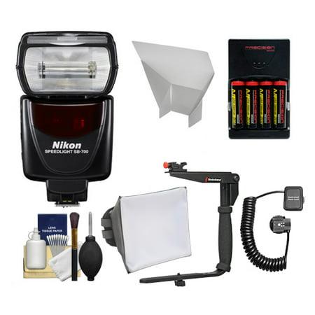 Nikon SB-700 AF Speedlight Flash with Bracket + Cord + Softbox + Reflecter + Batteries for D3300, D3400, D5500, D7200, D500, D610, D750, D810