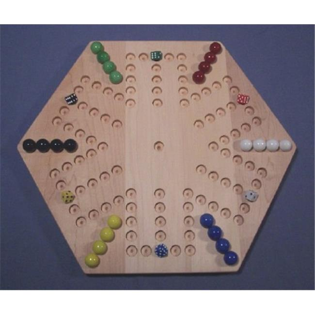 THE PUZZLE-MAN TOYS W-1934 Wooden Marble Game Board - Aggravation - 18 in. Hexagon - 6-Player  5-Hole - Hard Maple