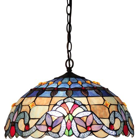 - Chloe Lighting Grenville Tiffany-Style 2-Light Victorian Ceiling Pendant Fixture with 18