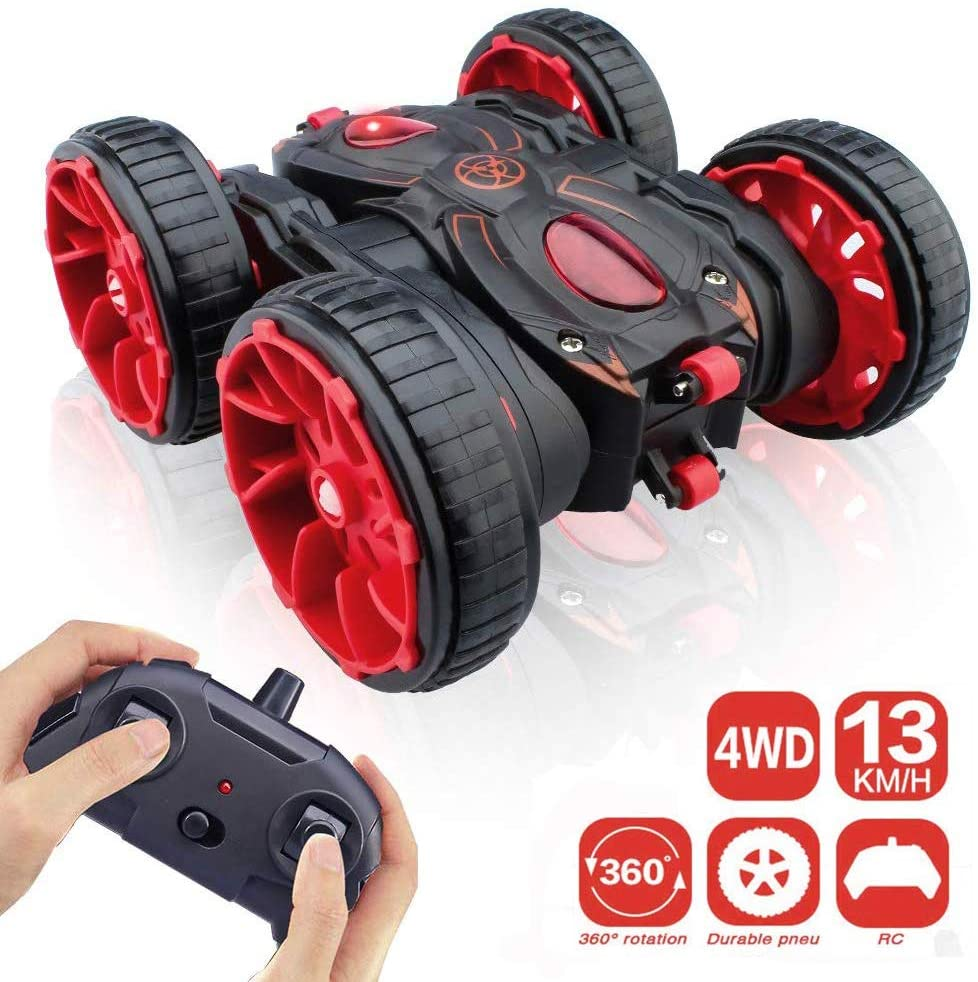 RC Car Toys for Kids Adults RC Stunt Cars Toys with Dual-Color Headlights for Boys Girls Birthday Xmas Gifts Remote Control Car with Double Sided Rotating Vehicles 360/°Flips