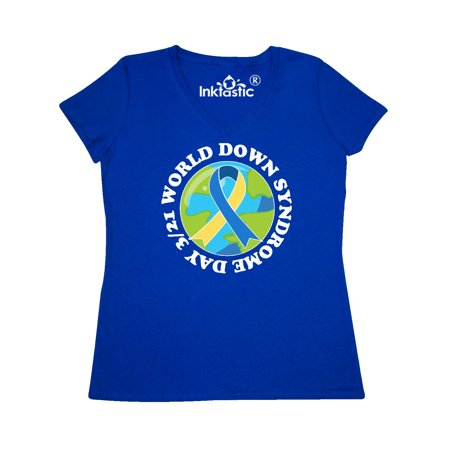 World Down Syndrome Day March 21 with Planet Earth in White Text Women