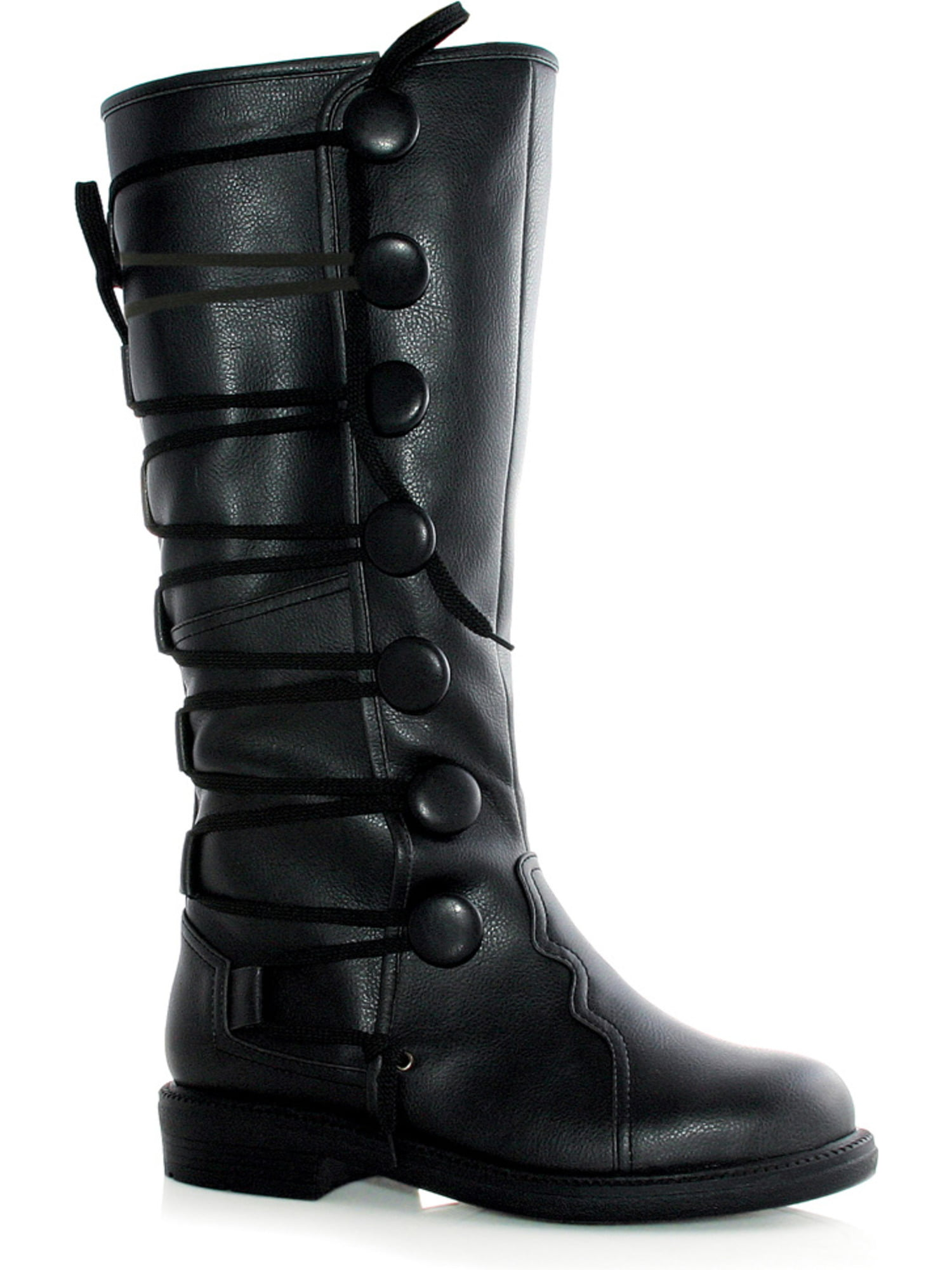 MENS SIZING 1 Inch Heel Pull Tab Button Knee High Boots Renaissance Dark Ages