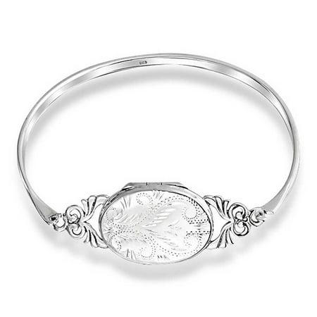 Vintage Style Etched Oval Keepsake Locket Bangle Bracelet For Women 925 Sterling Silver