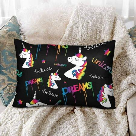 GCKG Magical Unicorns Rainbow Seamless Pattern Pillow Cases Pillowcase 20x30 inches - image 1 de 4