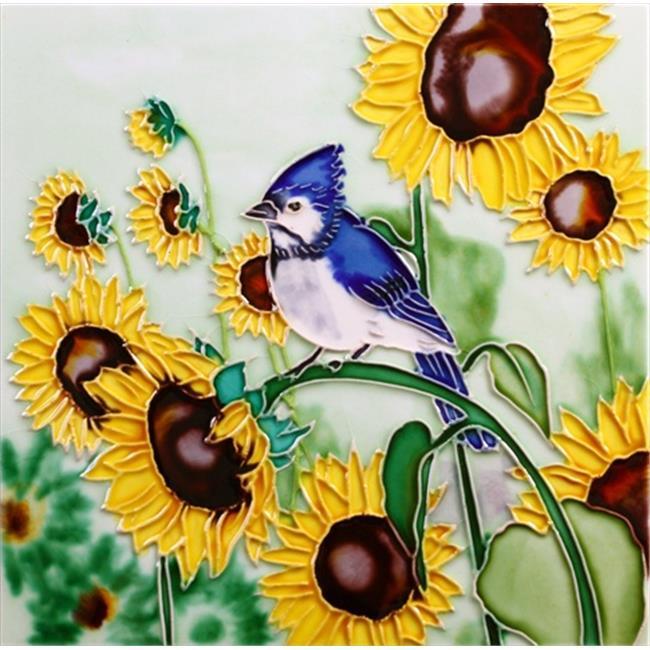 En Vogue B-306 Blue Jay and Sunflowers - Decorative Ceramic Art Tile - 8 inch x 8 inch