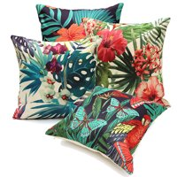 Meigar Tropical Plant Flamingo Couch Cushion Pillow Covers 18x18 Square Zippered Cotton Linen Standard Decorative Waist Throw Pillow Covers Slip Case Protector for Sofa Chair Seat
