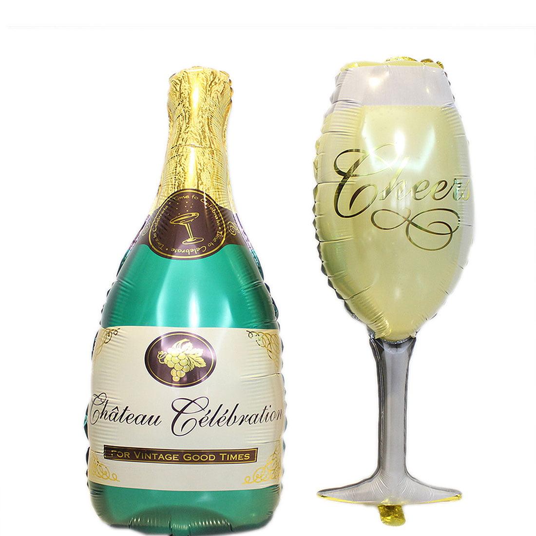 Bar Decor Foil Wine Glass Champagne Bottle Shaped Balloons 2 in 1
