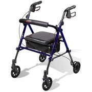 Carex Step N Rest Rollator Walker with Padded Seat, 6 Wheels, Backrest, and Storage Pouch, Dark Blue
