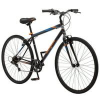 Mongoose Hotshot Hybrid Bike, 7-speed, 700c wheels, Black / Orange