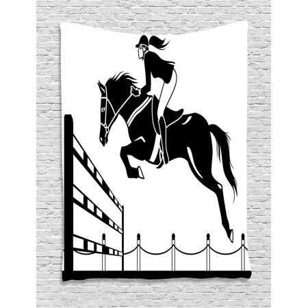 Cartoon Tapestry  Racing Horse With A Jockey Girl Jumping Above Barrier Barn Farming Image Print  Wall Hanging For Bedroom Living Room Dorm Decor  40W X 60L Inches  Black And White  By Ambesonne