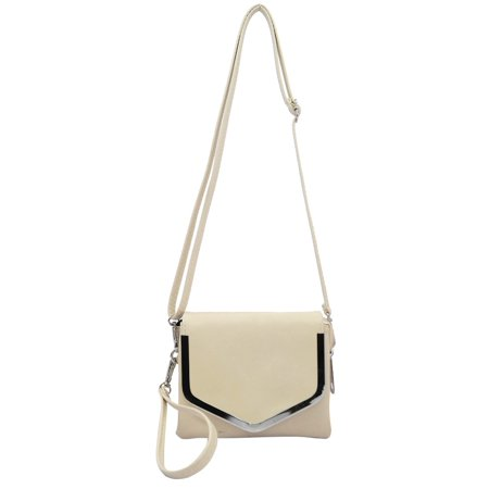 ABLEGRID Beige SYMELI Solid Color Lady Messenger Cross Body Totes Shoulder Bag - Beige Tote Bag