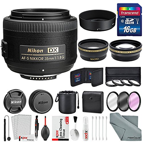 Nikon AF-S DX NIKKOR 35mm f/1.8G Lens, Platinum Accessory Bundle W/ 58mm Wide...