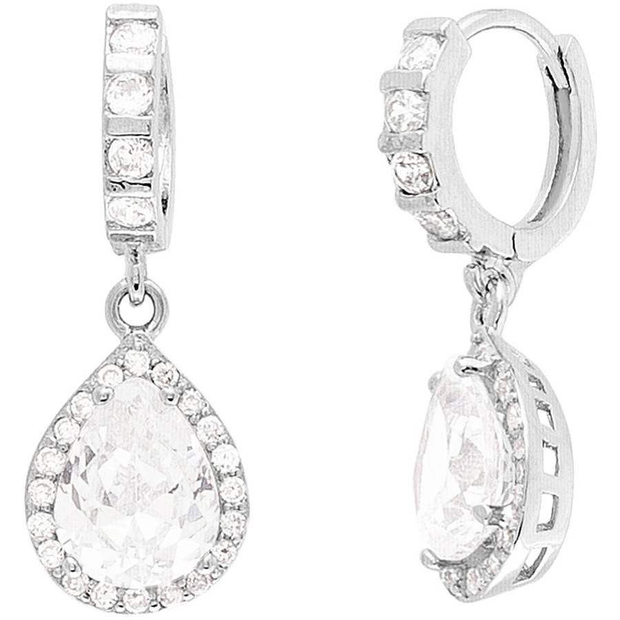 Angelique Silver CZ 18kt White Gold over Sterling Silver Teardrop Earrings