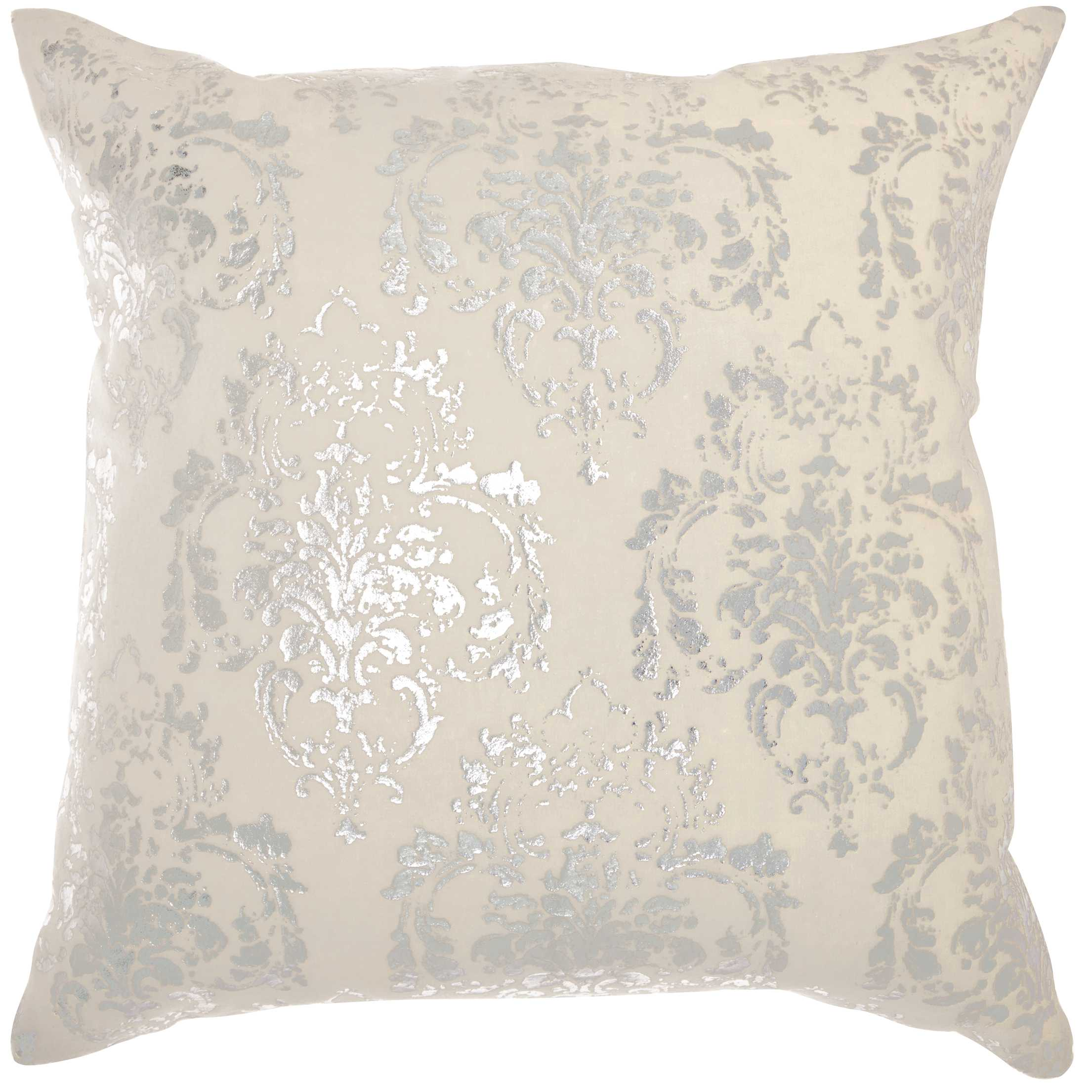 Nourison Luminecence Distressed Damask Ivory Throw Pillow