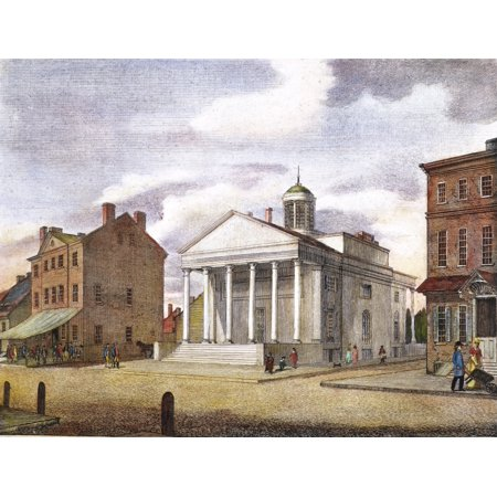 Bank Of Pennsylvania 1800 Nthe City Tavern  Left  And The Bank Of Pennsylvania South Second Street Philadelphia Color Line Engraving 1800 By William Birch   Son Rolled Canvas Art     18 X 24