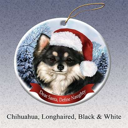 Holiday Pet Gifts Chihuahua Longhaired Black & White Santa Hat Dog Porcelain Christmas Tree Ornament