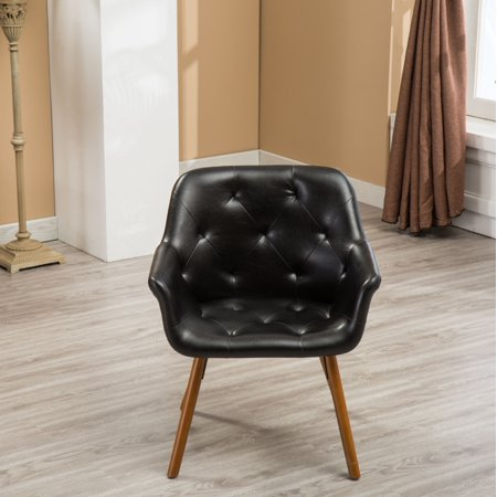 Roundhill Vauclucy Contemporary Faux Leather Diamond Tufted Bucket Style Accent Chair, Black