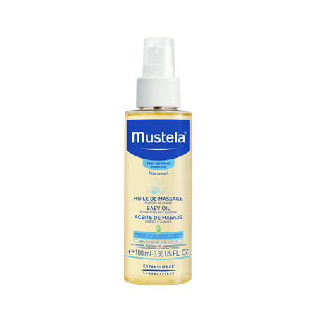 Mustela Baby Moisturizing Oil with Natural Avocado Oil, Pomegranate and Sunflower Seed Oil, 3.38 Oz (Natural Baby Oil)
