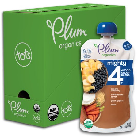 Plum Organics Mighty 4, Organic Toddler Food, Banana, Blueberry, Sweet Potato, Carrot, Greek Yogurt & Millet, 4oz Pouch (Pack of 6)