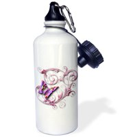 3dRose Golden accented vines and pretty multi colored butterfly, Sports Water Bottle, 21oz