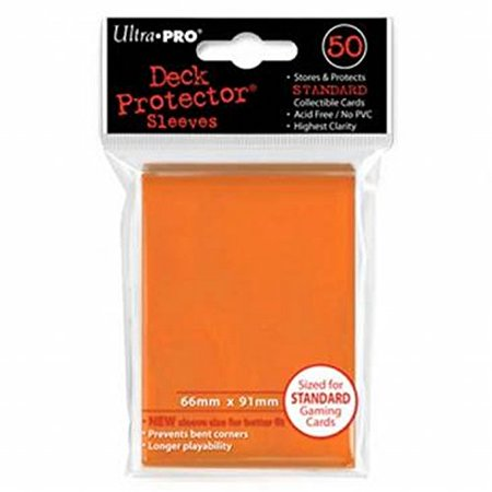 Trading Card Set Sleeves - Ultra-Pro Orange Deck Protectors (Sleeves) 50-count for Standard Sized Trading Card (UPR82673), 074427826734 By Ultra Pro