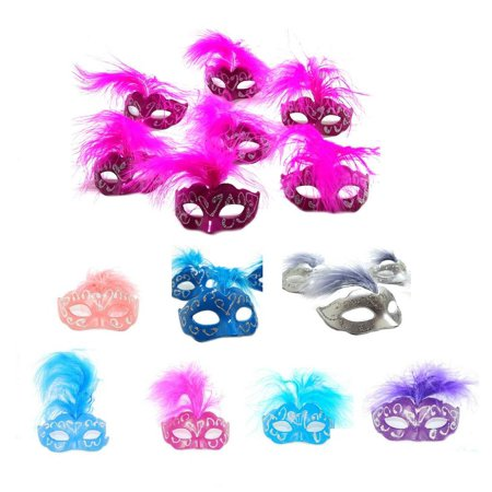 12 Piece Set (Mini Mardi Gras) Feather Masquerade Mask Wedding and Party Decoration - Feather Half Masks