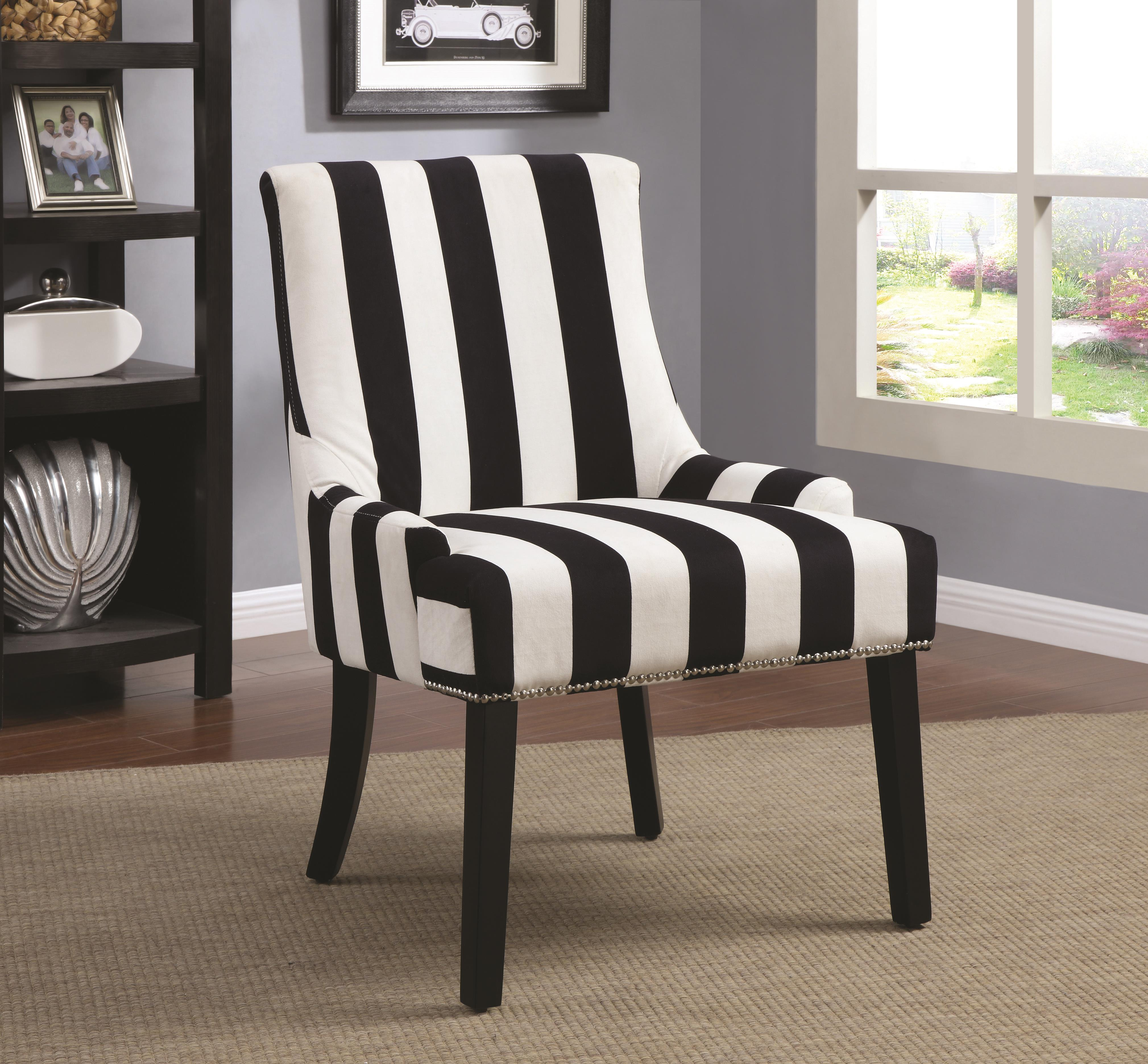 Wildon Home  Navy Stripe Side Chair