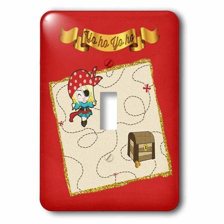 3dRose Yo Ho Gold Banner, Girl Pirate with Sword and Treasure Chest on Map, Single Toggle