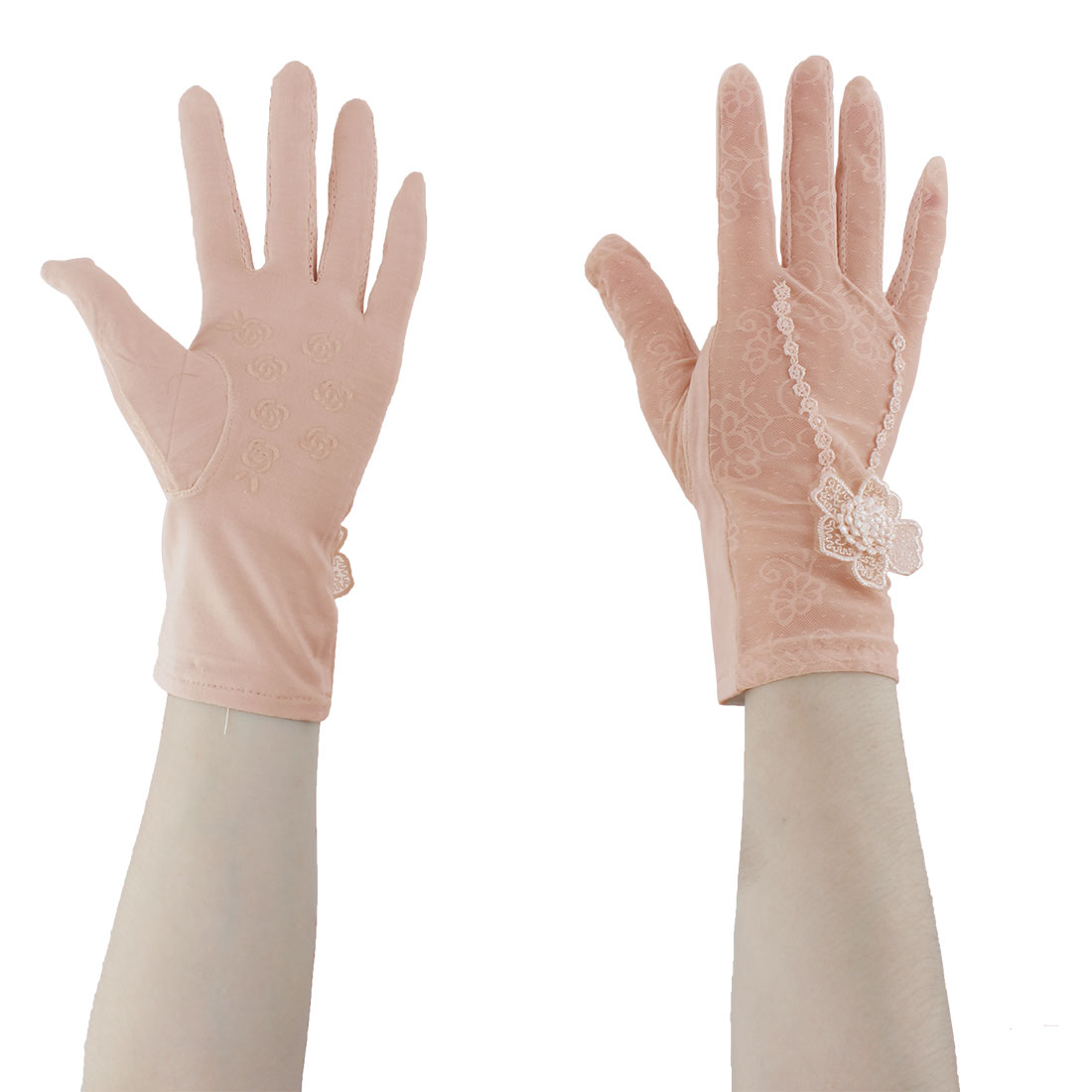 Lady Travel Cycling Lace Floral Decor Full Finger Sun Resistant Gloves Pink Pair by