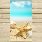 YKCG Tropical Island Sandy Beach Seashell Starfish Blue Sky Hand Towel Beach Towels Bath Shower Towel Bath Wrap For Home Outdoor Travel Use 30x56 inches
