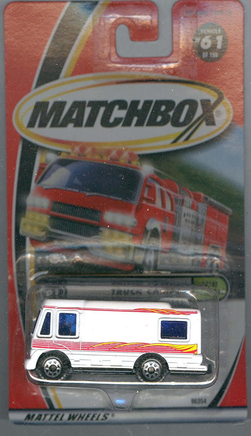 2000-61 Great Outdoors Truck Camper 1:64 Scale, Matchbox MTruck Camper #61 White with Red... by