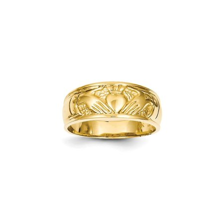 Solid 14k Yellow Gold Ladies Claddagh Ring (20mm) - Size -