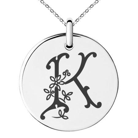 Sterling Silver Floral Pendant - Stainless Steel Letter K Initial Floral Monogram Engraved Small Medallion Circle Charm Pendant Necklace