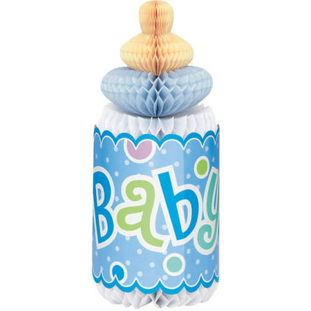 (3 Pack) Polka Dot Boy Baby Shower Centerpiece Decoration, 12 in, Blue, (Boy Baby Shower Decorations)