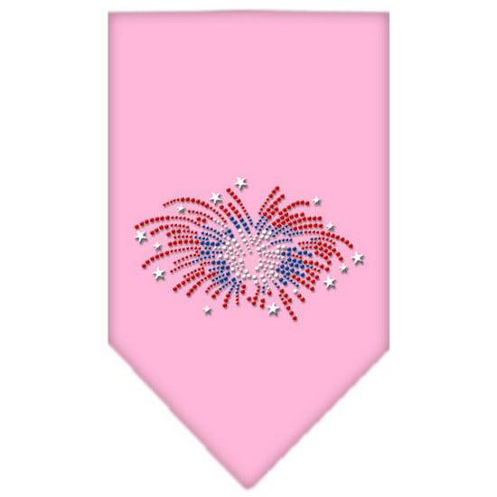 Fireworks Rhinestone Bandana Light Pink Large
