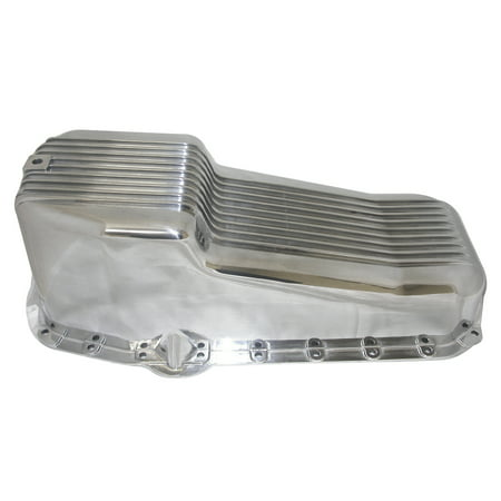 RPC Racing Power Company R8442 Oil Pan  For Use With Small Block Chevy 283-350; 2 Piece Rear Main; Street; 4 Quart; Drivers Side Dipstick; Polished; Aluminum; Finned; With Drain Plug/Bolts - image 1 de 1