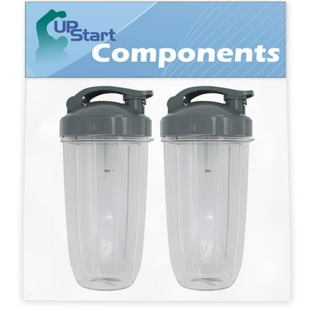 2 Pack UpStart Components Replacement 32 oz Cup with Flip Top To-go Lid for NutriBullet 600w, NutriBullet Pro 900w, NutriBullet Pro 900 Series Blender