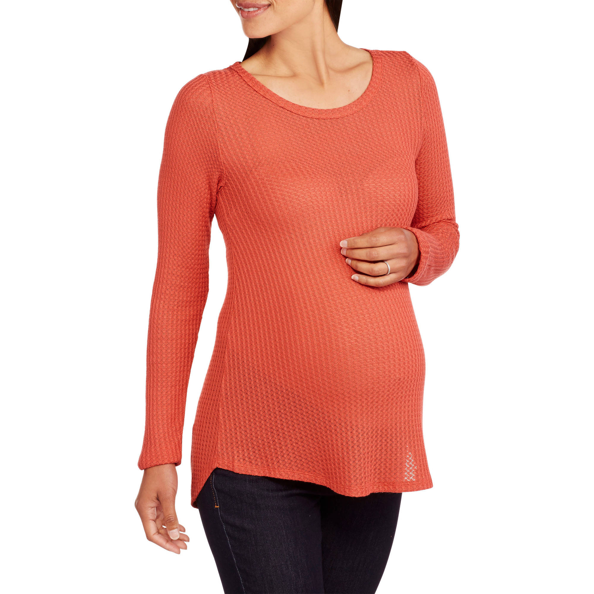 Inspire Maternity Long Sleeve Ribbed Crew Neck Top
