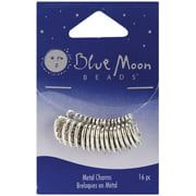 Blue Moon Silver-plated Metal Charms-silver Made With Love 16/pkg