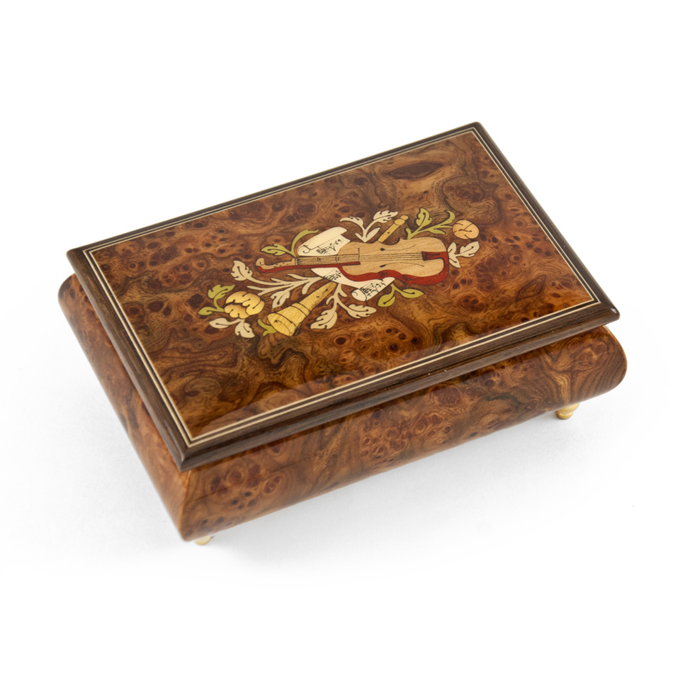 Charming 22 Note Hand Made Walnut Instrument Theme Wood Inlay Music Box A Dream Is A Wish Your Heart Makes by MusicBoxAttic
