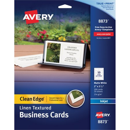 Avery Linen Texture True Print Business Cards, Inkjet, 2 x 3 1/2, Linen White, 200/Pk