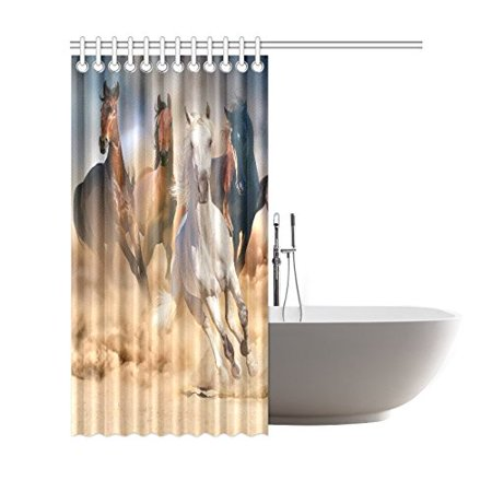 GCKG Cool Wild Animal Shower Curtain, Running Horse Herd Polyester Fabric Shower Curtain Bathroom Sets 66x72 Inches - image 2 de 3