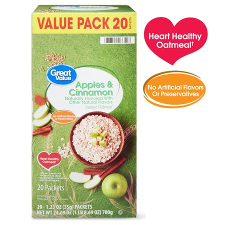 Groomers Blend Oatmeal ((2 Pack) Great Value Apples & Cinnamon Instant Oatmeal Value Pack, 1.23 oz, 20 count )