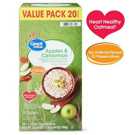 (2 Pack) Great Value Apples & Cinnamon Instant Oatmeal Value Pack, 1.23 oz, 20 count