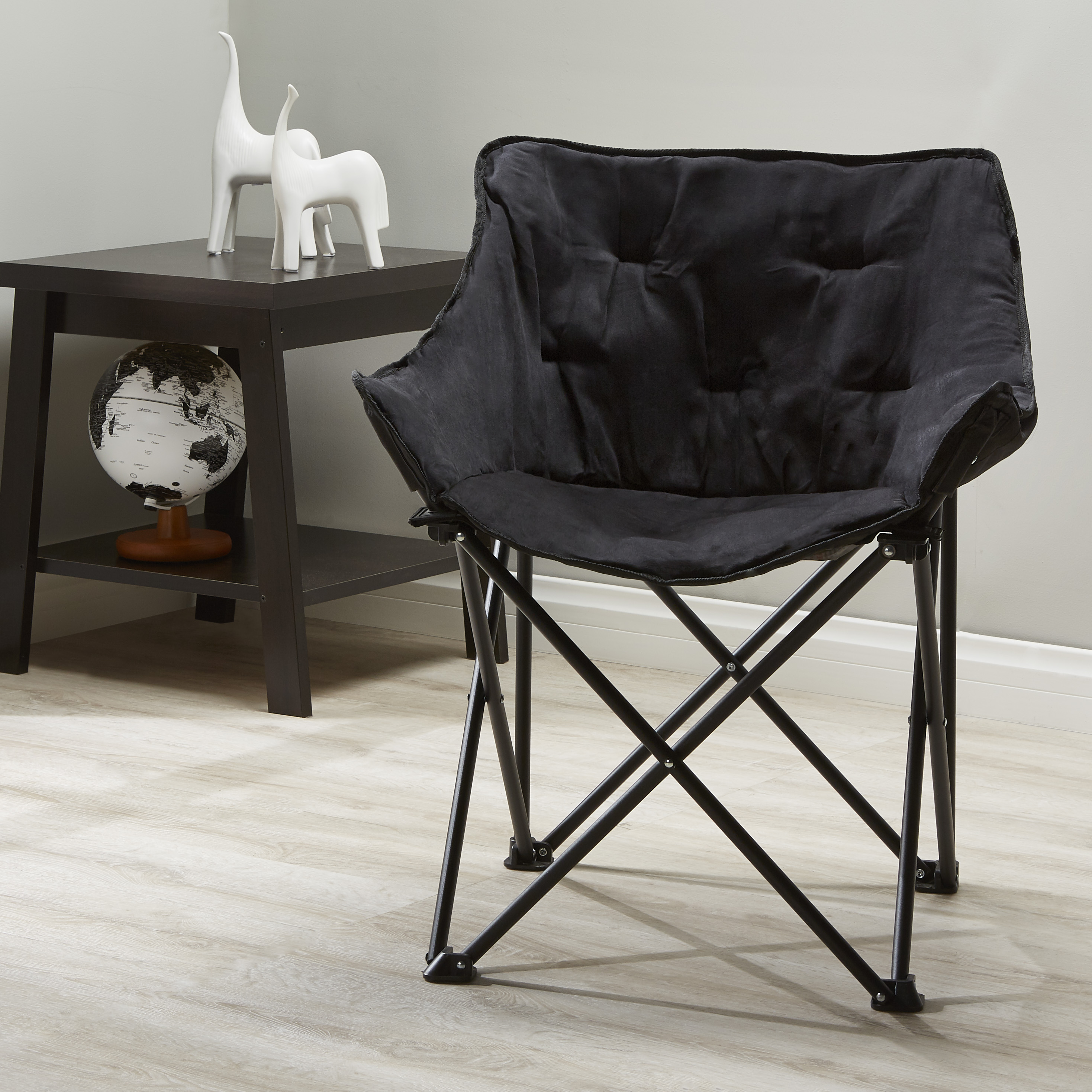 Mainstays Collapsible Square Chair, Black Microsuede